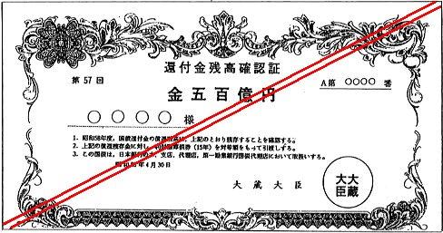 使用された「還付金残高確認証」(架空の証書)の例