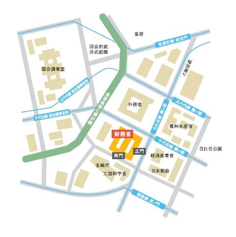 財務省所在地地図